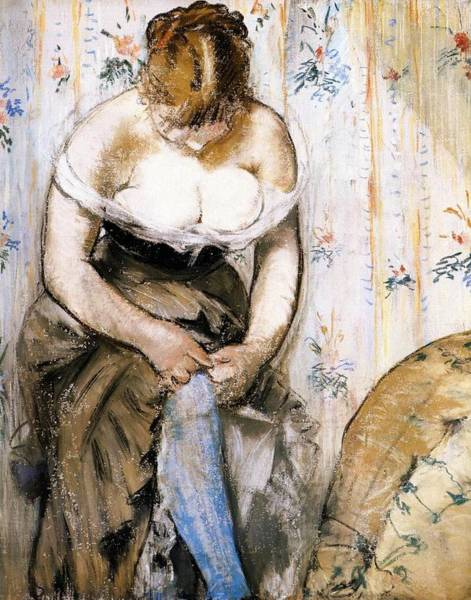 Wall Art - Painting - Woman Fastening Her Garter by Edouard Manet