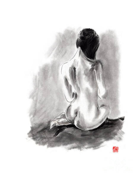 Handmade Wall Art - Painting - Woman Geisha Erotic Act Beautiful Girl  Japanese Ink Painti by Mariusz Szmerdt