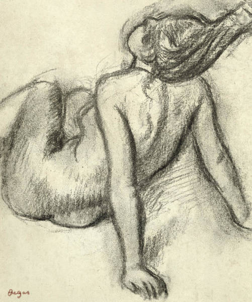 Sensual Drawing - Woman Having Her Hair Styled by Edgar Degas
