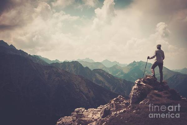 Route Photograph - Woman Hiker On A Top Of A Mountain by Nejron Photo