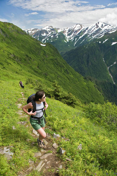 Juneau Photograph - Woman Hiking On A Trail by Whit Richardson