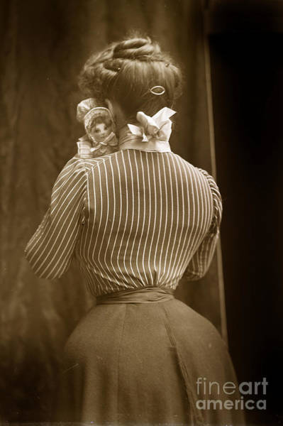 Photograph - Victorian Woman Holding A Doll With A Wasp Waist Look 1900 by California Views Archives Mr Pat Hathaway Archives
