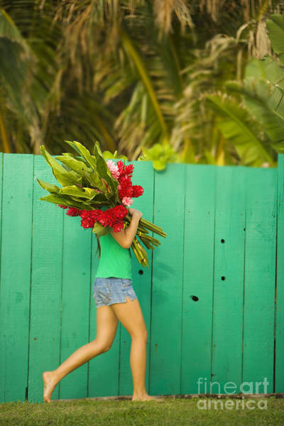 Wall Art - Photograph - Woman Holding Red And Pink Ginger Flowers by Dana Edmunds