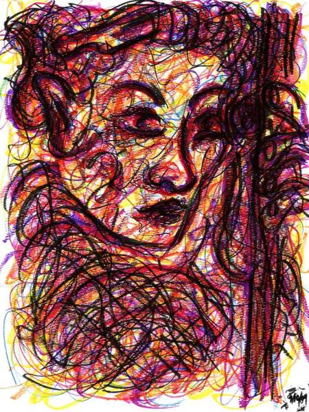 Drawing - Woman Holding Umbrella by Rachel Scott