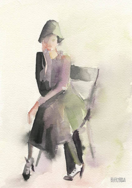 Painting - Woman In A Cloche Hat Watercolor Fashion Illustration Art Print by Beverly Brown