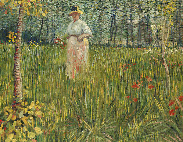 Blue Bonnets Painting - Woman In A Garden by Vincent van Gogh