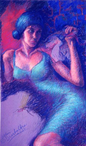 Painting - Woman In A Green Dress by Ellen Dreibelbis