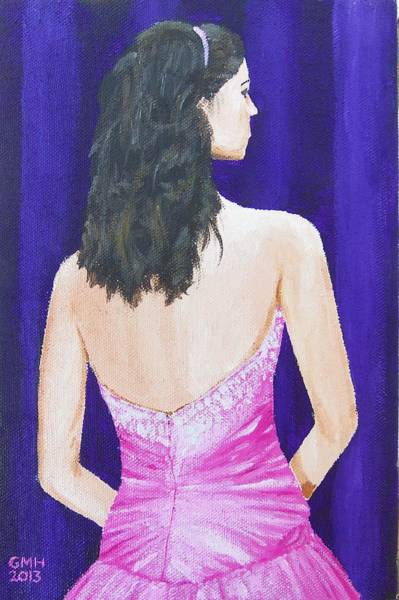 Wall Art - Painting - Woman In A Pink Dress by Glenn Harden