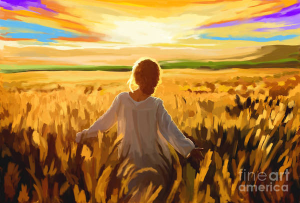 Wheat Painting - Woman In A Wheat Field by Tim Gilliland