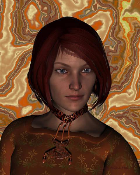 Digital Art - Woman In Brown Portrait by Judi Suni Hall
