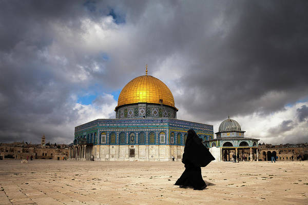Jerusalem Photograph - Woman In Burqa By Dome Of The Rock In by Marji Lang