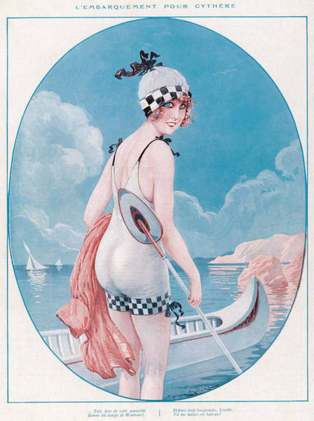 Checker Drawing - Woman In Her One-piece Swimming by Mary Evans Picture Library