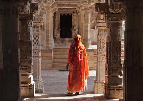 Wall Art - Photograph - Woman In Jain Temple In Chittorgarh by Keren Su