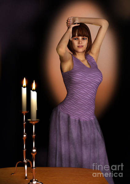 Digital Art - Woman In Purple Gown With Candles by Elle Arden Walby