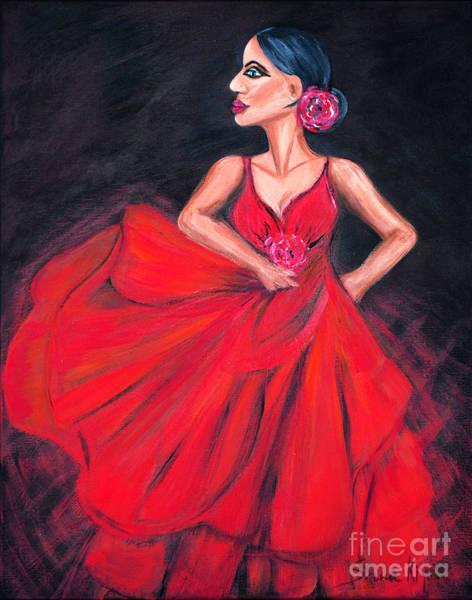 Painting -  Flamenco. Original Acrylic Painting by Oksana Semenchenko