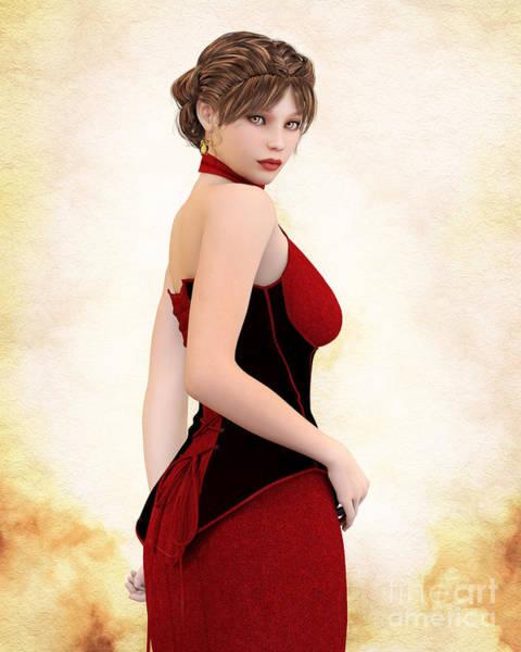 Digital Art - Woman In Red by Elle Arden Walby
