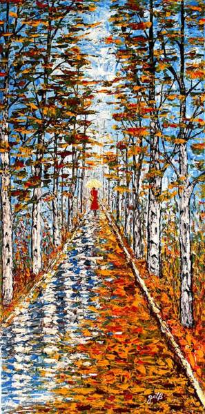 Painting - Woman In Red In Fall Rainy Day by Georgeta  Blanaru