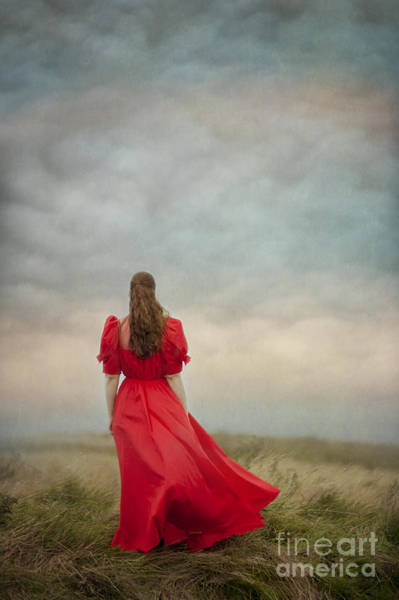 Wall Art - Photograph - Woman In Red On Moorland by Lee Avison
