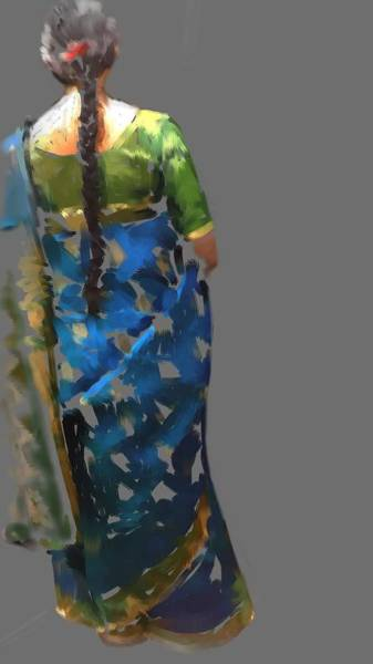 Woman In Saree Art Print