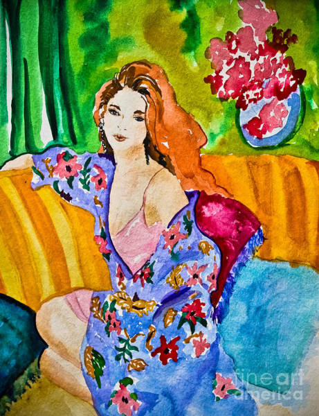 Kammerer Wall Art - Painting - Woman In Silk Kimono by Colleen Kammerer