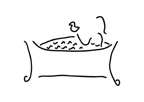 Lineart Drawing - Woman In The Bath With Duck by Lineamentum