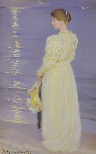 Impressionist Photograph - Woman In White On A Beach, 1893 by Peder Severin Kroyer
