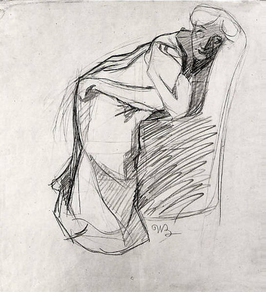 Boccioni Wall Art - Drawing - Woman Leaning On A Chair The Artists by Umberto Boccioni