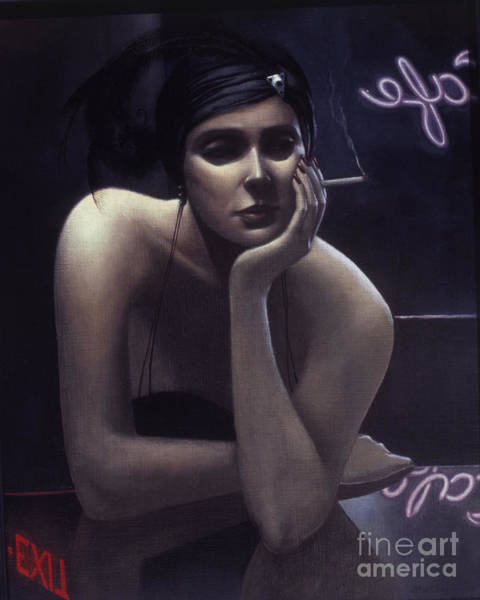 Neon Sign Painting - Woman Left Lonely by Jane Whiting Chrzanoska