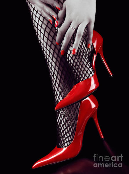 Erotism Photograph - Woman Legs In Sexy Red High Heels And Stockings by Oleksiy Maksymenko