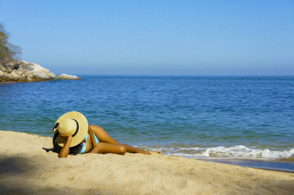 Wall Art - Photograph - Woman Lying On The Beach by Aged Pixel
