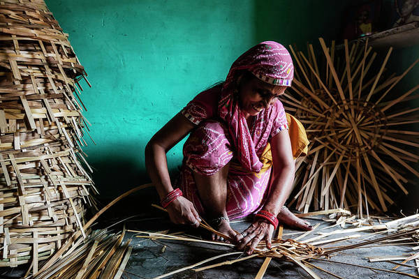 Candid Photograph - Woman Making Baskets From Split Bamboo by Jeremy Woodhouse