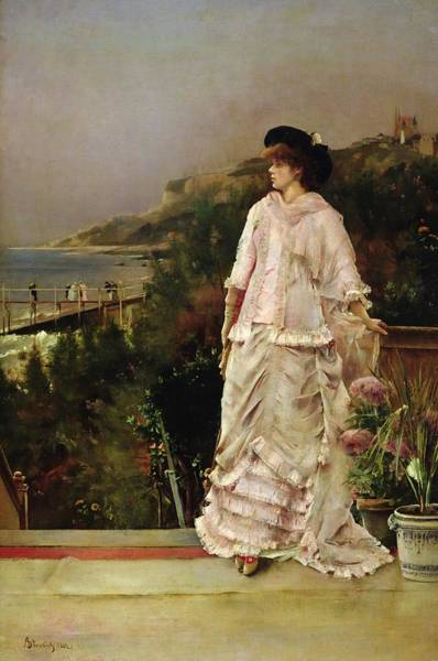Steven Painting - Woman On A Terrace by Alfred Emile Stevens
