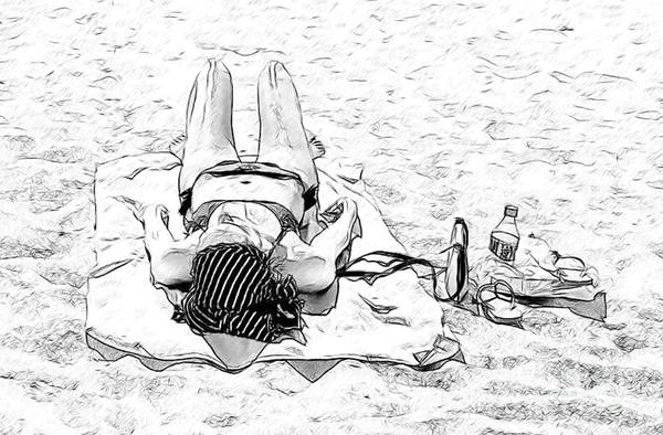 Photograph - Woman On Beach by Les Palenik