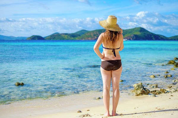 Wall Art - Photograph - Woman On Tropical Beach Looking At Blue by Jason Langley