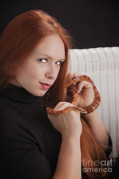 Photograph - Woman Or Girl With Snake Photograph In Color 3377.02 by M K Miller