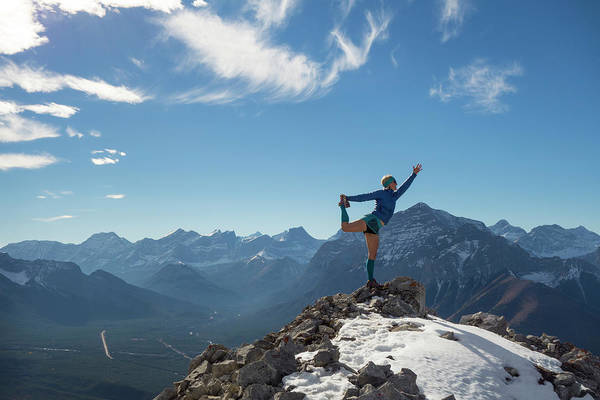 Casual Photograph - Woman Performs Yoga Move On Mountain by Ascent Xmedia