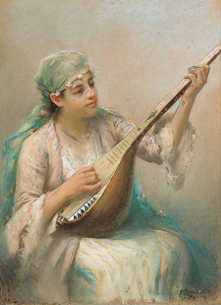 Fausto Zonaro Painting - Woman Playing A String Instrument by Fausto Zonaro