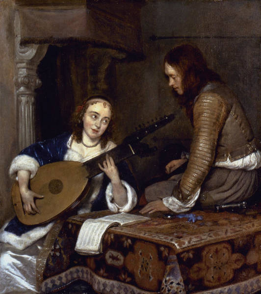 Painting - Woman Playing A Theorbo by Granger