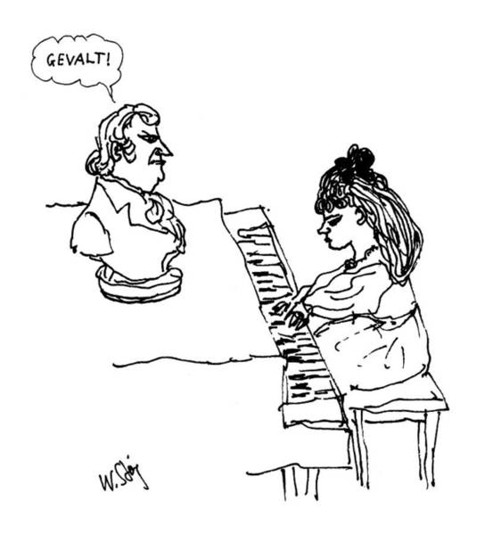 Celebrities Drawing - Woman Playing Piano by William Steig