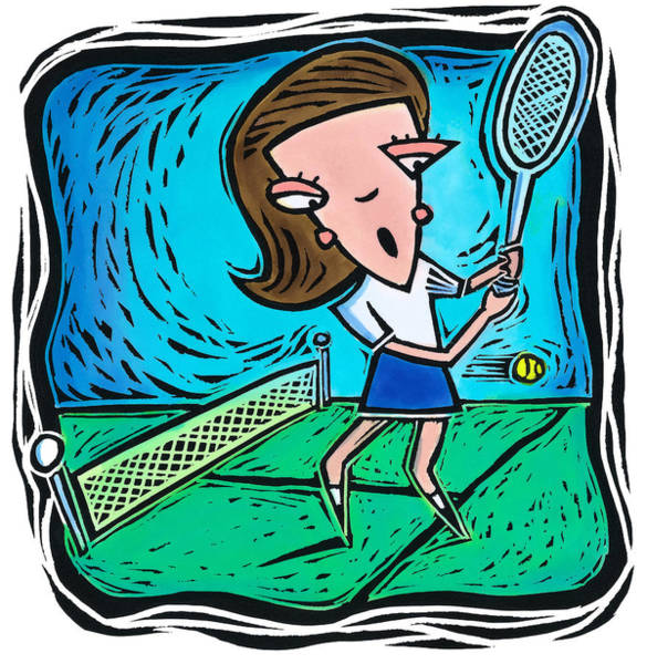 Woman Playing Tennis Art Print by Jannine Cabossel