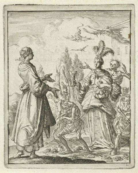 Wall Art - Drawing - Woman Pointing To Richly Dressed Woman Who Is Led by Jan Luyken And Pieter Arentsz Ii