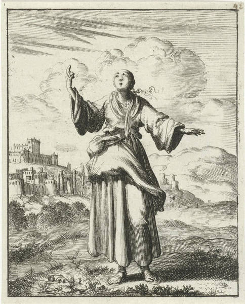 Woman Pointing To The Sky, Jan Luyken, Pieter Arentsz II Art Print