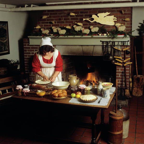 Colonial Williamsburg Photograph - Woman Preparing Pie Crust Colonial by Vintage Images