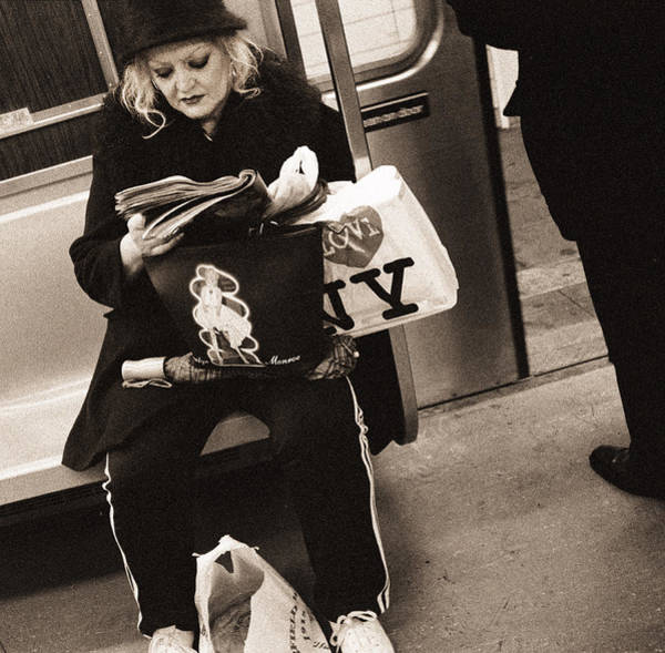 Wall Art - Photograph - Woman Reading On A Subway With A Marilyn Monroe Purse And An I Love New York Bag, 2004 Bw Photo by Stephen Spiller