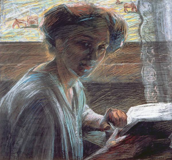 Turning Painting - Woman Reading by Umberto Boccioni