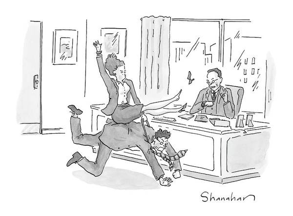 Hierarchy Drawing - Woman Riding Man Like A Bull In An Office by Danny Shanahan