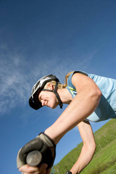 Endurance Wall Art - Photograph - Woman Riding Mountain Bike, Colorado by J.C. Leacock