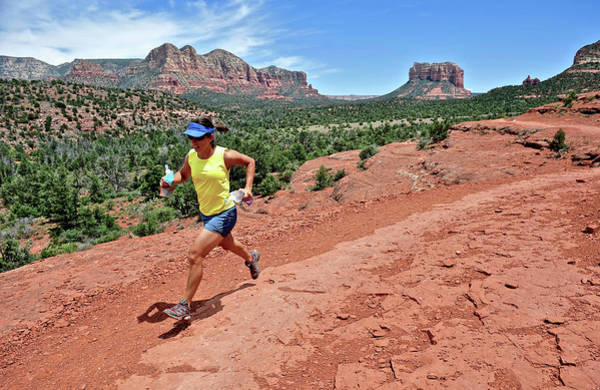 Physical Training Wall Art - Photograph - Woman Runs The Cathedral Rock Trail by HagePhoto