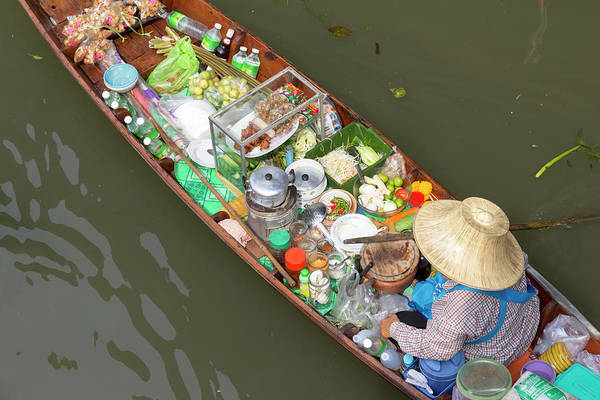 Casual Photograph - Woman Selling Food From A Boat by Tim Bewer