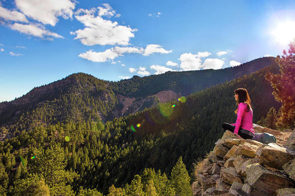 State Of Colorado Photograph - Woman Sitting Enjoying The Mountains by Linked Ring Photography